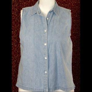 MARSH LANDING blue denim sleeveless blouse L